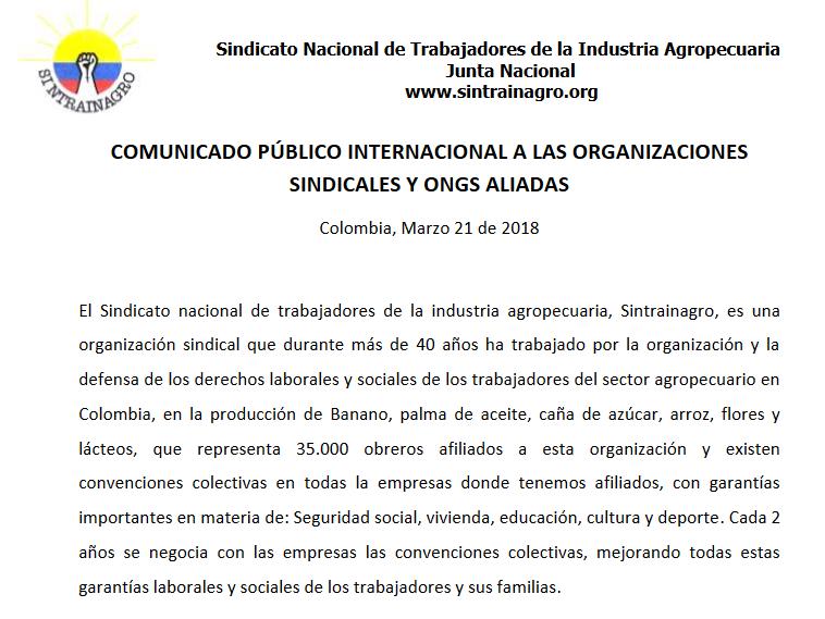 COMUNICADO INTERNACIONAL A ORGANIZACIONES SINDICALES Y ONGS ALIADAS