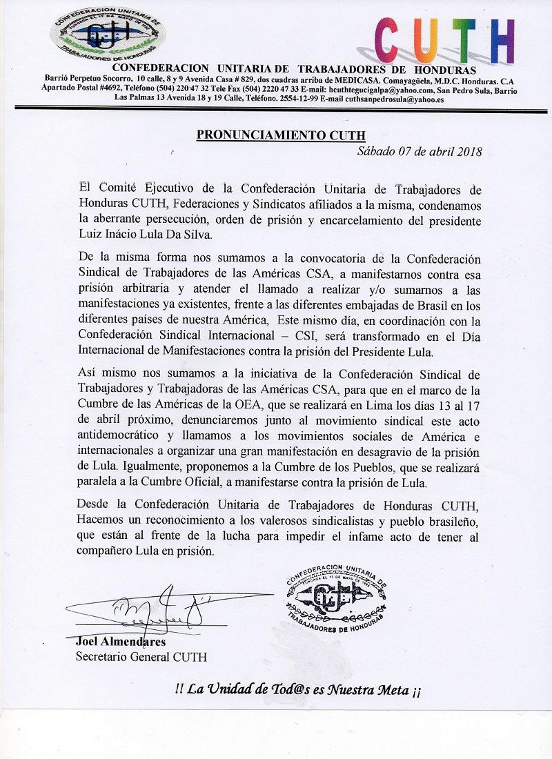 PRONUNCIAMIENTO CUTH HONDURAS
