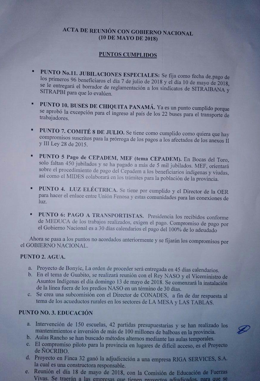 Acuerdo de Salud SITRAIBANA y Gobierno de Panama