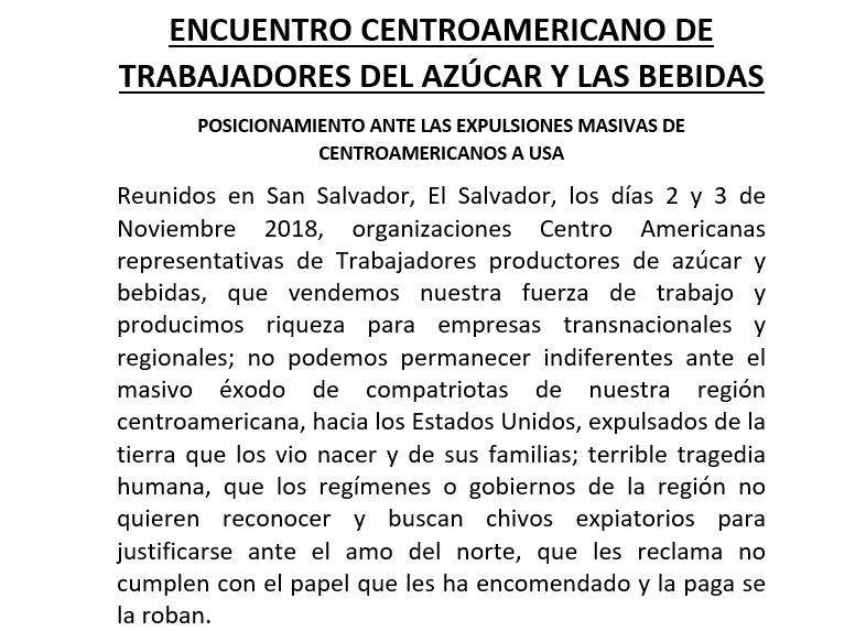 ENCUENTRO CENTROAMERICANO DE TRABAJADORES DEL AZÚCAR Y LAS BEBIDAS