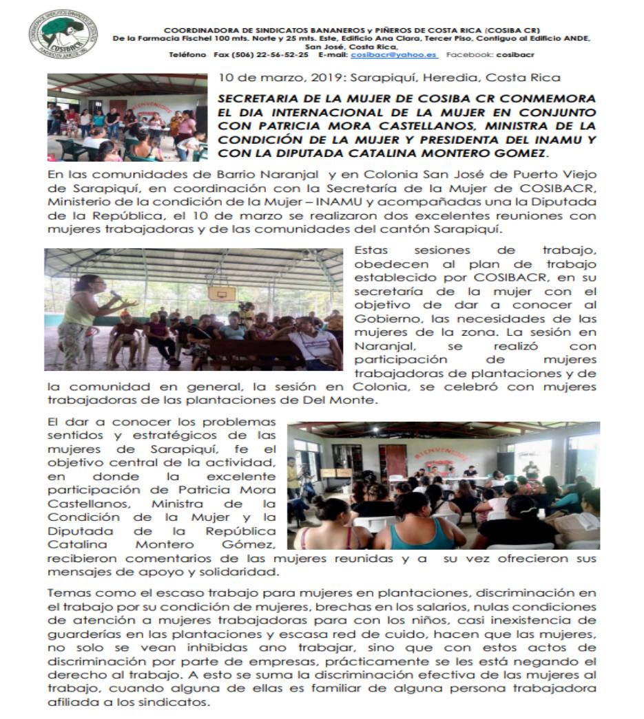 SECRETARIA DE LA MUJER DE COSIBA CR CONMEMORA EL DIA INTERNACIONAL DE LA MUJER EN CONJUNTO CON PATRICIA MORA CASTELLANOS, MINISTRA DE LA CONDICIÓN DE LA MUJER Y PRESIDENTA DEL INAMU Y CON LA DIPUTADA CATALINA MONTERO GOMEZ.
