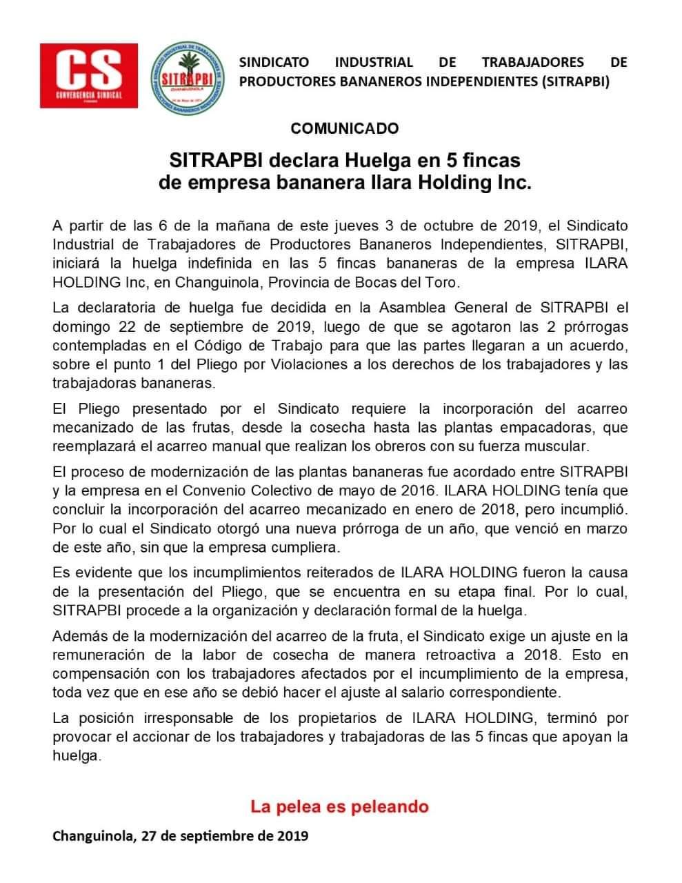 SITRAPBI declara Huelga en 5 fincas de empresa bananera llara Holding Inc.