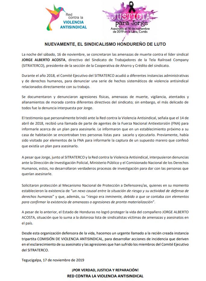 NUEVAMENTE, EL SINDICALISMO HONDUREÑO DE LUTO