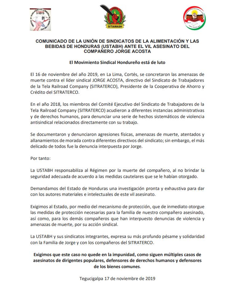 COMUNICADO DE LA UNIÓN DE SINDICATOS DE LA ALIMENTACIÓN Y LAS BEBIDAS DE HONDURAS (USTABH) ANTE EL VIL ASESINATO DEL COMPAÑERO JORGE ACOSTA