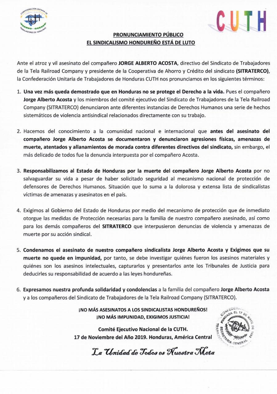 PRONUNCIAMIENTO PÚBLICO EL SINDICALISMO HONDUREÑO ESTÁ DE LUTO