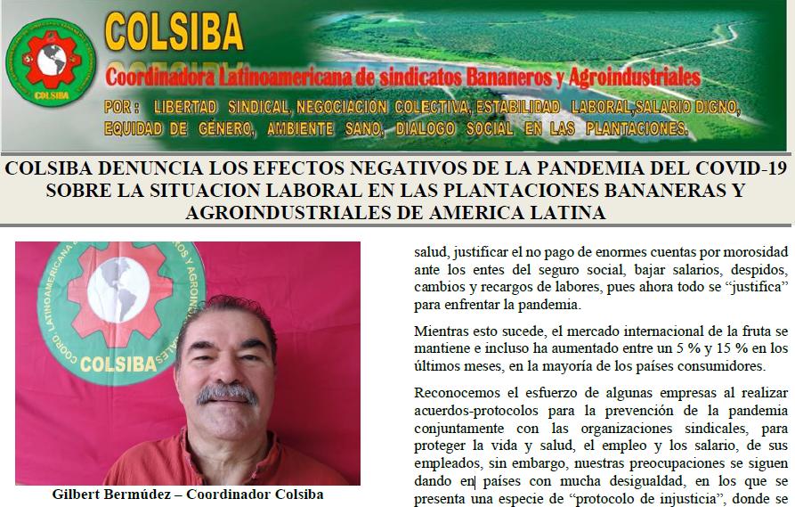 Colsiba denuncia los efectos negativos del covid 19 sobre la agroindustria